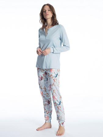 Bilde av Calida 'COSY FLOWERS' pysjamas, summer blue