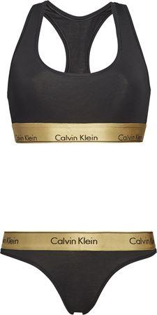 Bilde av Calvin Klein 'MODERN COTTON' bralette sett, black/gold