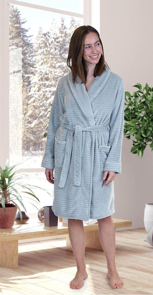 Bilde av Jensen Danmark 'FLEECE' morgenkåpe, light grey