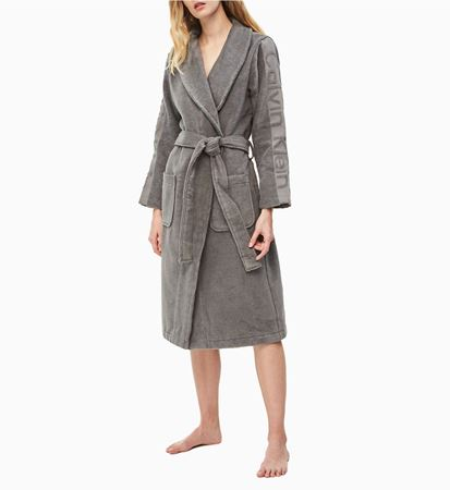 Bilde av Calvin Klein 'TERRY LOGO ROBE' morgenkåpe, grey heather