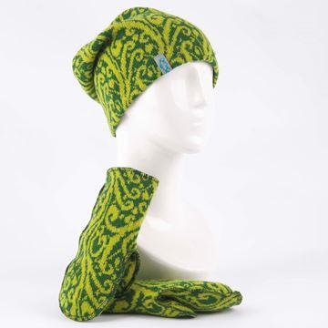 Bilde av Sett lue og votter sivmønster grønn